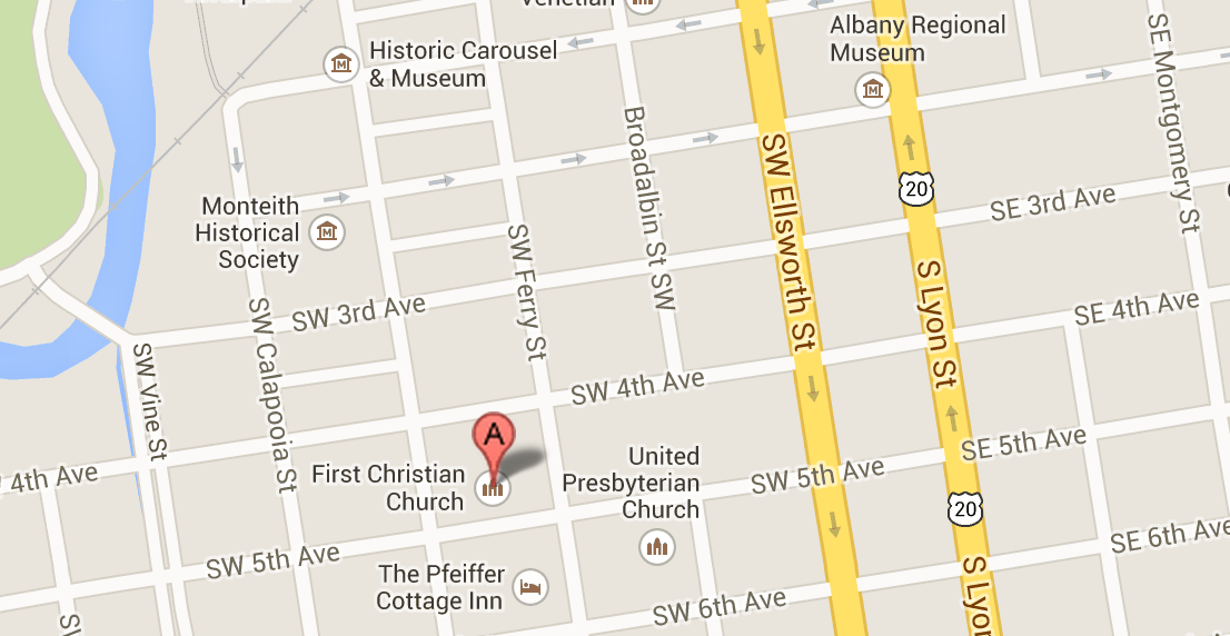 Click to see a map of the First Christian Church Albany Oregon location